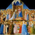 Fra Angelico, Couronnement de la Vierge, 1435, couronnement du bleu outremer