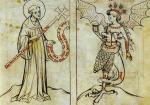 Biblia Pauperum, Bénédict conjurant le monstre des 7 péchés, 1415