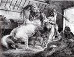 Chevaux se battant dans une écurie, 1818